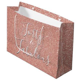 40 and Fabulous Rose Gold Blush Pink Glitter Large Gift Bag