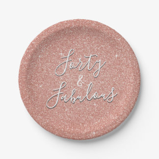 40 and Fabulous Rose Gold Blush Pink Glitter Paper Plate