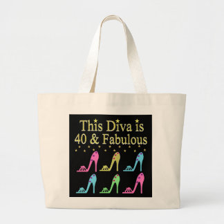 40 AND FABULOUS SHOE QUEEN DESIGN LARGE TOTE BAG