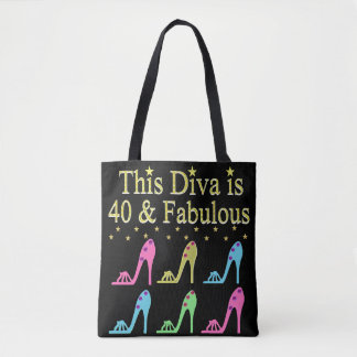 40 AND FABULOUS SHOE QUEEN DESIGN TOTE BAG