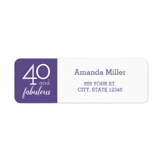 40 and Fabulous Violet and White Address Labels