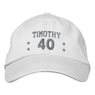 40 Birthday Custom Name SILVER Embroidery V64A Embroidered Hat