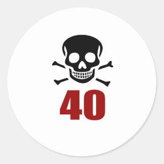 40 Birthday Designs Classic Round Sticker
