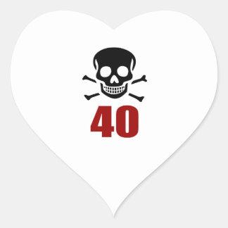 40 Birthday Designs Heart Sticker