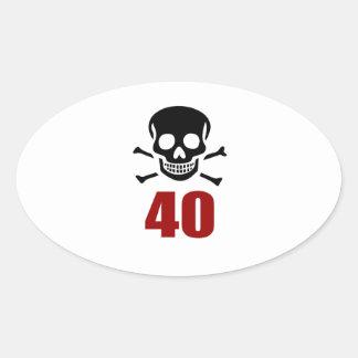40 Birthday Designs Oval Sticker