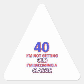 40 birthday designs triangle sticker