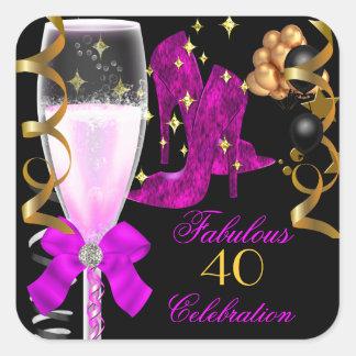 40 et chaussures pourpres roses fabuleuses sticker carré