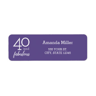 40 & Fabulous 40th Birthday Violet Address Labels