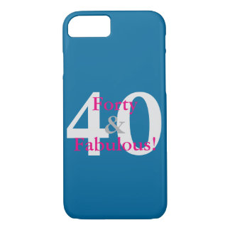 40 & Fabulous! Fun Custom Birthday Blue & Hot Pink Case-Mate iPhone Case
