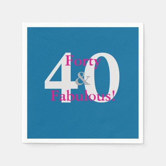 40 & Fabulous! Fun Custom Birthday Blue & Hot Pink Napkin