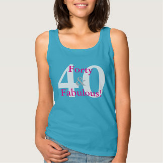 40 & Fabulous! Fun Custom Birthday Blue & Hot Pink Tank Top