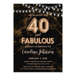 40 & Fabulous Gold Balloon Birthday Invitations