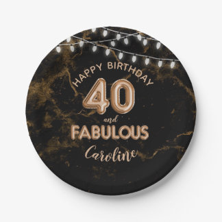 40 & Fabulous Gold Foil Balloons & String Lights Paper Plate