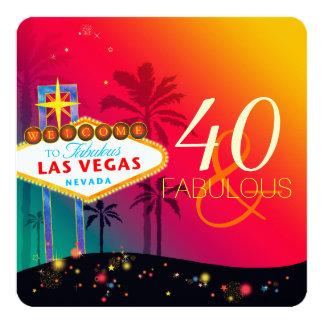 "40 & Fabulous Las Vegas Birthday Party 5.25"" Square Invitation Card"