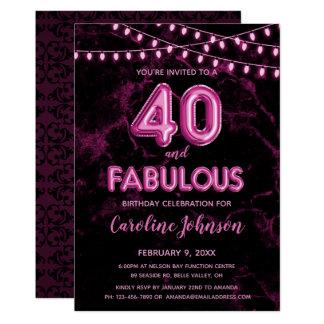40 & Fabulous Pink Balloon Birthday Invitations