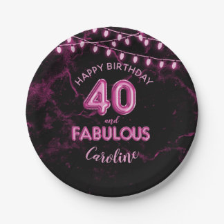 40 & Fabulous Pink Foil Balloons & String Lights Paper Plate