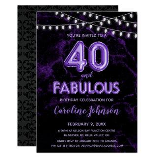 40 & Fabulous Purple Balloon Birthday Invitations