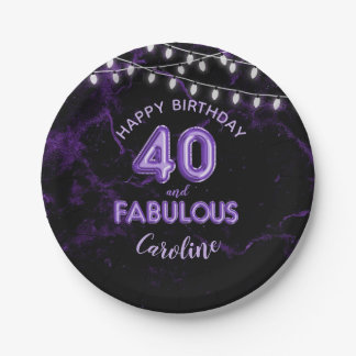 40 & Fabulous Purple Foil Balloons & String Lights Paper Plate