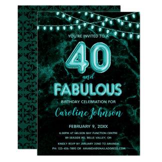 40 & Fabulous Teal Balloon Birthday Invitations