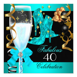 "40 Fabulous Teal Blue Gold 40th Birthday Party 5.25"" Square Invitation Card"