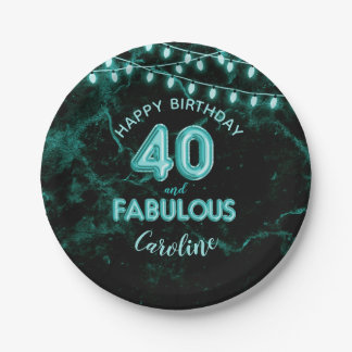40 & Fabulous Teal Foil Balloons & String Lights Paper Plate