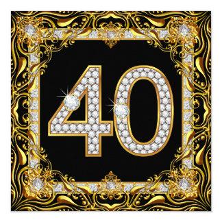 "40 Gold Diamond Black 40th Birthday Party 5.25"" Square Invitation Card"