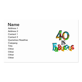 40 is Fabulous Birthday T-shirts and Gifts Pack Of Standard Business Cards