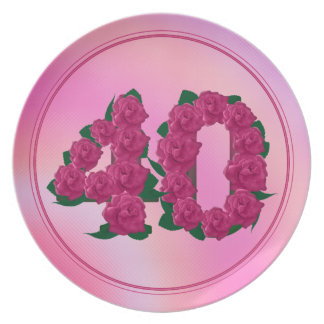 40 number birthday anniversary 40th floral plate