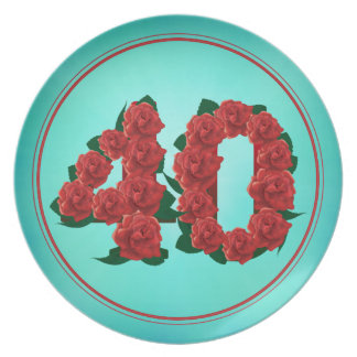 40 number birthday anniversary 40th roses plate