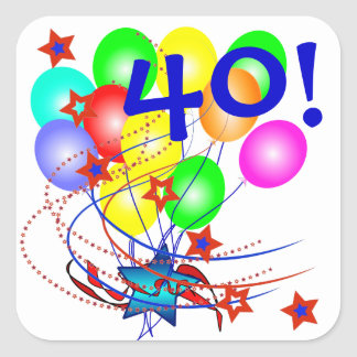 40! Or Any Age Birthday Balloons Stickers
