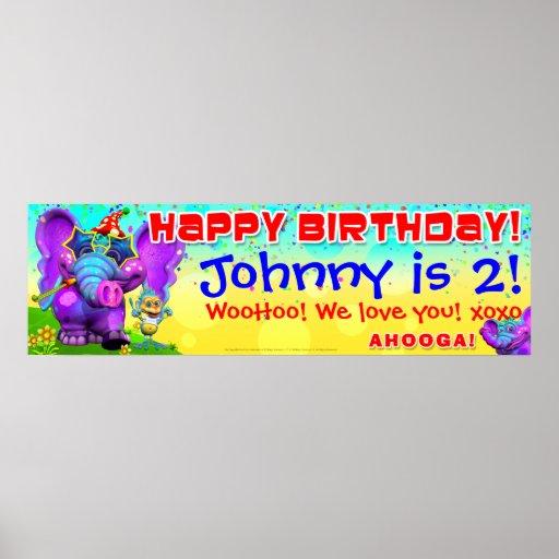 "40""x12"" GiggleBellies Peanut  Birthday Star Banner Print"
