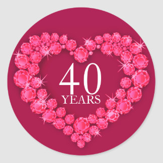 40 years ruby heart red & white sticker