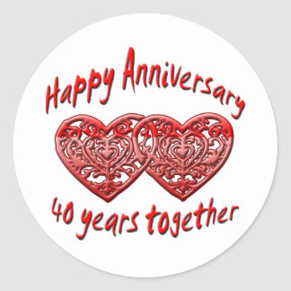 40 Years Together Classic Round Sticker