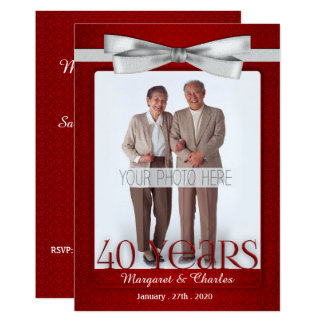 40-Years Wedding Anniversary Ruby Red and White Card