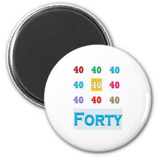 40th 40 Fortieth Anniversary Birthday ELEGANT gift Refrigerator Magnet