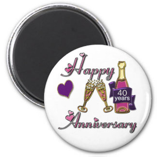 40th. Anniversary 2 Inch Round Magnet