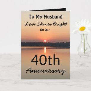 40th Anniversary Husband Love Shines Bright Sunset Card