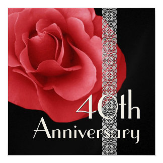 40th Anniversary Invitation - RED Rose Silver Lace