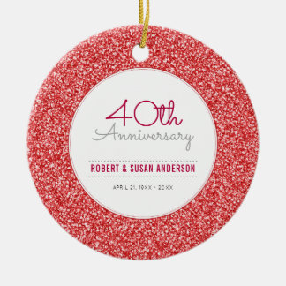 40th Anniversary Keepsake Faux Red Glitter Ceramic Ornament