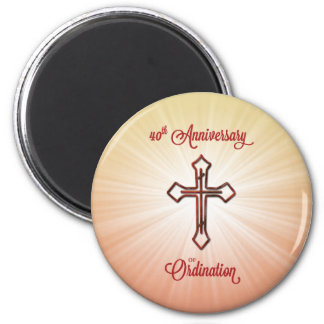 40th Anniversary of Ordination, Round Gift, Pillow 2 Inch Round Magnet