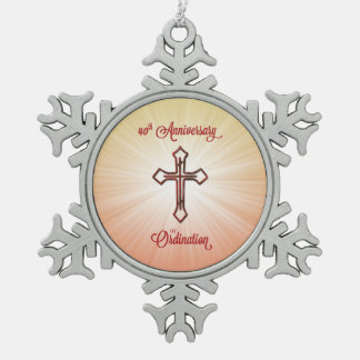 40th Anniversary of Ordination, Round Gift, Pillow Snowflake Pewter Christmas Ornament