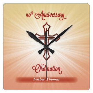 40th Anniversary of Ordination, Square Gift Square Wall Clock