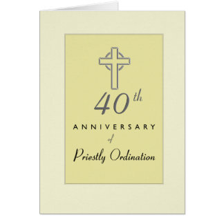 40th Anniversary of Priest with Embossed Cross, Re Card