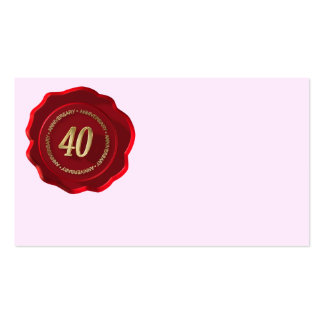 40th anniversary red wax seal business card