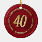 40th anniversary red wax seal ceramic ornament
