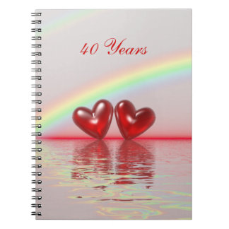 40th Anniversary Ruby Hearts Notebook