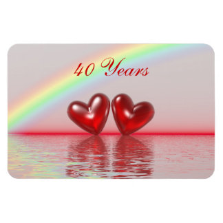 40th Anniversary Ruby Hearts Rectangular Magnet