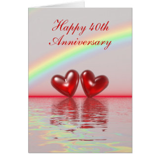 40th Anniversary Ruby Hearts (Tall) Greeting Card