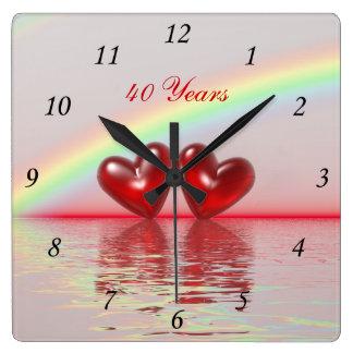 40th Anniversary Ruby Hearts Wallclock