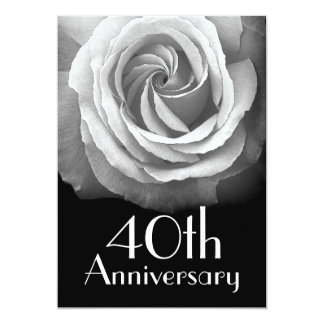 40th Anniversary Silver White Rose Card
